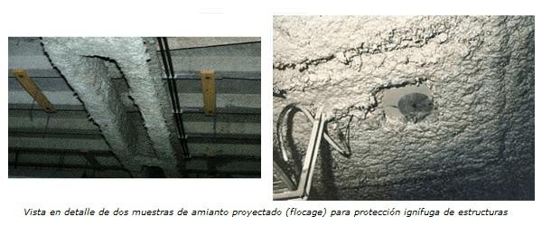 revestimiento de estructura con amianto y argamasa